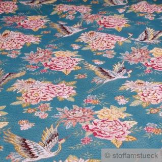 Stoff Polyester Baumwolle Gobelin türkis Kraniche Rose 170 cm breit