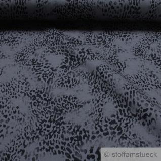 0, 5 Meter Stoff Baumwolle Elastan Single Jersey anthrazit Leopard Leo-Print