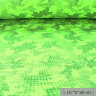 Stoff Polyester Elastan Softshell neongrün Klecks Reflektor reflektierend