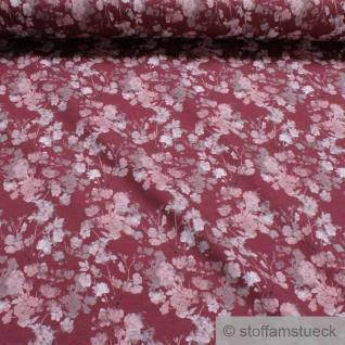 0, 5 Meter Stoff Baumwolle Elastan Single Jersey bordeaux Röschen digital Rosen
