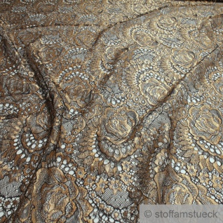 Stoff Polyamid Polyester Elastan Spitze schwarz Blume gold fließend sehr weich