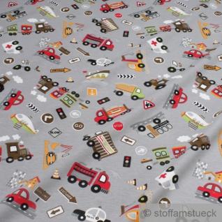 Stoff Kinderstoff Baumwolle Elastan Single Jersey grau Fahrzeug Auto LKW Zug