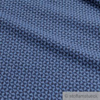Recycelt Stoff Baumwolle Polyester Elastan Jacquard Jersey Raute dunkelblau blau - Vorschau 3