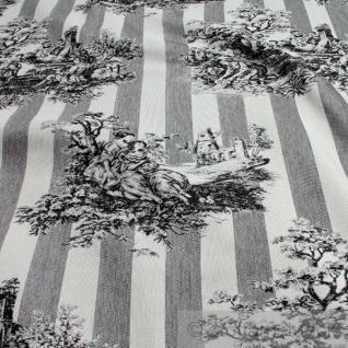 Stoff Baumwolle Polyester Gobelin Toile de Jouy ländlich anthrazit ecru 280 cm