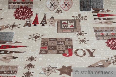 Stoff Weihnachtsstoff Baumwolle Polyester Rips natur Merry Christmas Weihnachten