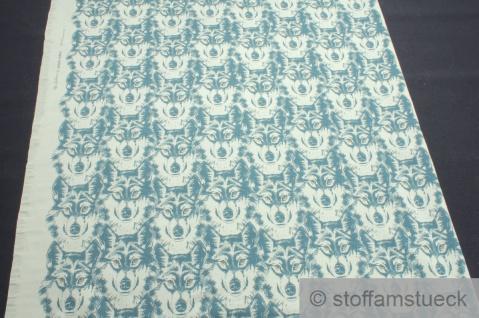 Panel Stoff Baumwolle Elastan Single Jersey pastell oliv Wolf angeraut - Vorschau 3