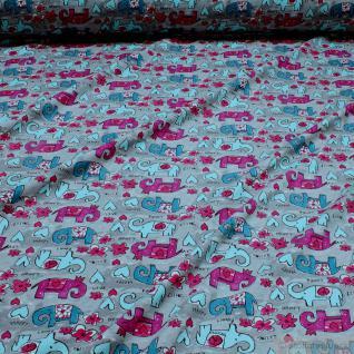 Kinderstoff Baumwolle Lycra Single Jersey hellgrau Elefant Oeko-Tex 100 Blümchen