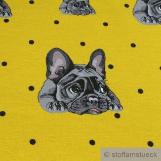 Stoff Baumwolle Elastan Single Jersey senf Französische Bulldogge Hund - Vorschau 3