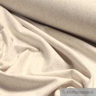 0, 5 Meter Stoff Leinen Polyester Lycra Interlock Jersey beige meliert dehnbar - Vorschau 2