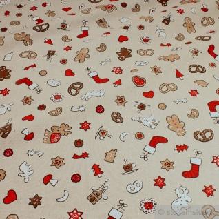 Stoff Weihnachtsstoff Baumwolle Polyester Rips natur Lebkuchen Lebkuchenmännchen
