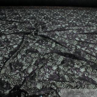 Stoff Polyamid Polyester Elastan Spitze schwarz Blume Schimmer pink weich