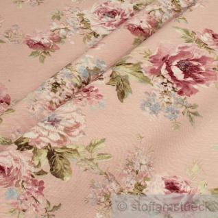 Stoff Baumwolle Polyester rosè Rose breit Rosen 280 cm überbreit pflegeleicht