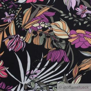 Stoff Viskose schwarz Blume pink fließend leicht weich Blumen farbenfroh - Vorschau 4
