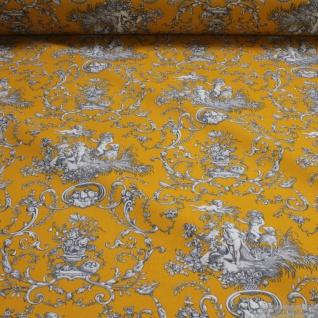 Stoff Baumwolle Rips Toile de Jouy Putte ocker grau 280 cm breit Engel
