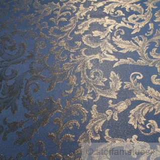 Stoff Polyester Jacquard Ornament blau gold Lurex Goldbrokat Barock Rokoko 280 cm überbreit - Vorschau 3