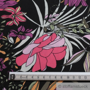 Stoff Viskose schwarz Blume pink fließend leicht weich Blumen farbenfroh - Vorschau 5