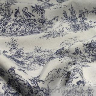 Stoff Baumwolle Polyester Toile de Jouy ländliche weiß dunkelblau 280 cm breit