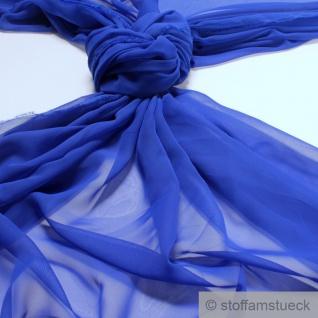 Stoff Polyester Chiffon kobaltbau transparent leicht weich fallend blau