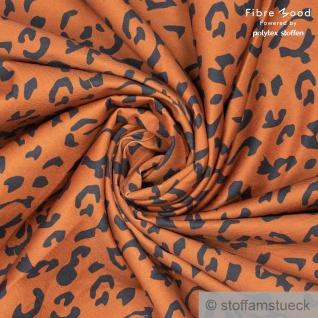 Stoff Baumwolle Elastan Feinköper braun schwarz Leopard elastisch Fibre Mood