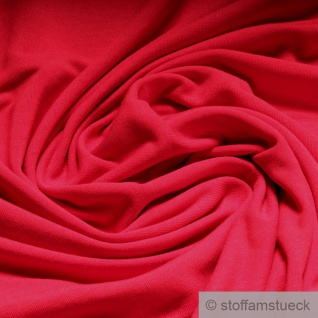 0, 5 Meter Stoff Bambus Elastan Single Jersey rot atmungsaktiv knitterarm