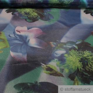Stoff Polyester Organza blau Orchidee grün bedruckt transparent leicht
