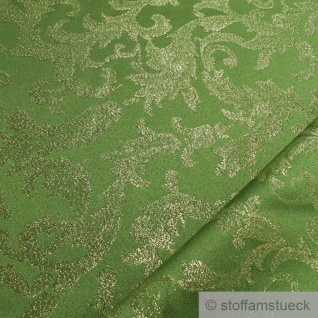 Stoff Polyester Jacquard Ornament grün gold Lurex Goldbrokat Barock Rokoko 280 - Vorschau 2