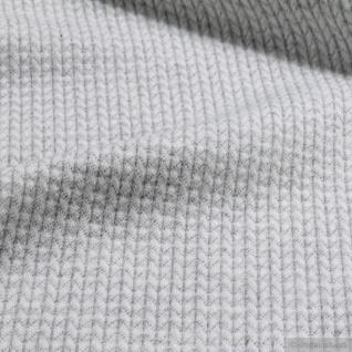 0, 5 Meter Stoff Bio-Baumwolle Jacquard Jersey Fischgrat hellgrau 3D-Optik - Vorschau 4