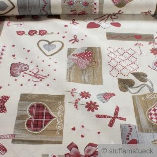 Stoff Baumwolle Polyester ecru Patchwork Herz rot fleckabweisend pflegeleicht