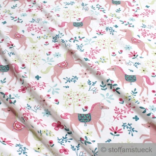 Stoff Kinderstoff Baumwolle Elastan Single Jersey off-white Pferd rosa dehnbar