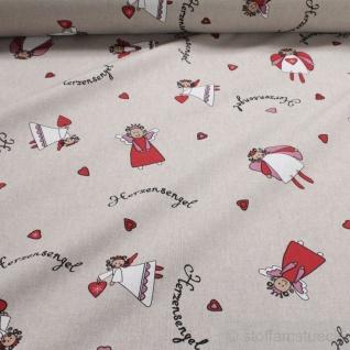 Stoff Weihnachtsstoff Baumwolle Polyester Rips natur Engel Herzensengel