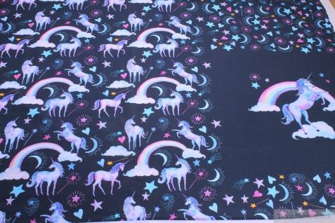 Stoff Panel Baumwolle Lycra Single Jersey dunkelblau Einhorn angeraut Mond Stern