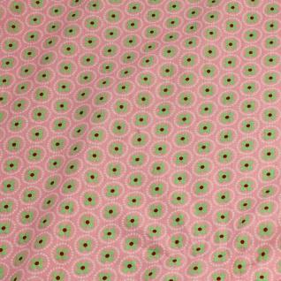 10 Meter Stoff Baumwolle rosa Prilblume hellgrün Baumwollstoff Blume - Vorschau 5