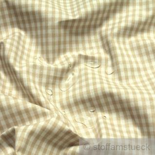 Stoff Baumwolle Acryl Vichy Karo beige weiß Regenjacke Wachstuch Tischdecke