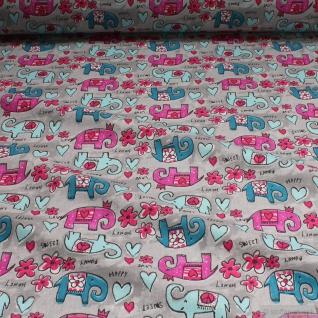 Stoff Kinderstoff Baumwolle hellgrau Elefant Oeko-Tex Standard 100 Blümchen