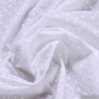 Stoff Baumwolle Batist weiß Stickerei leicht transparent