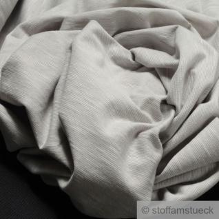 0, 5 Meter Baumwolle Single Jersey hellgrau meliert Streifen leicht beidseitig