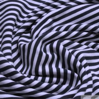0, 5 Meter Stoff Baumwolle Elastan Single Jersey Streifen dunkelblau weiß