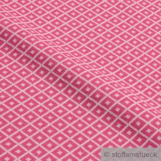 Recycelt Stoff Baumwolle Polyester Elastan Jacquard Jersey Raute pink ecru - Vorschau 2