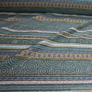Stoff Polyester Baumwolle Jacquard Streifen schwarz blau Inka - Stil