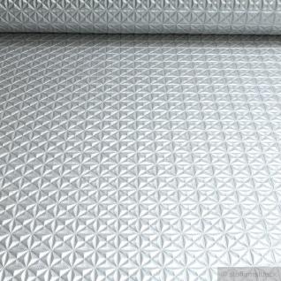 Stoff PVC Kunstleder Raute silber glänzend Pyramide Leder Skai geprägt