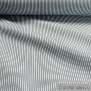 Stoff Baumwolle Köper Streifen hellblau weiß 7.7 oz blickdicht weich