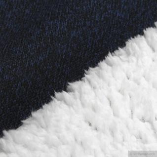 Stoff Polyester Single Jersey dunkelblau Teddy weiß warm kuschelig Alpenfleece