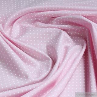 Stoff Baumwolle Punkte ganz klein rosa weiß Tupfen Baumwollstoff