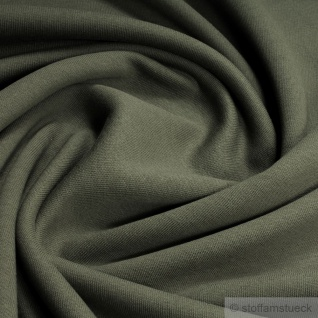 Stoff Baumwolle Single Jersey khaki oliv angeraut Sweatshirt weich kbA GOTS