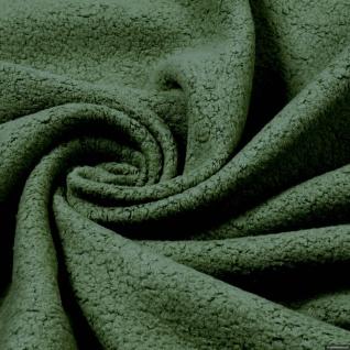 Stoff Baumwolle Polyester Fleece oliv Baumwollfleece Plüsch kuschelig olivgrün