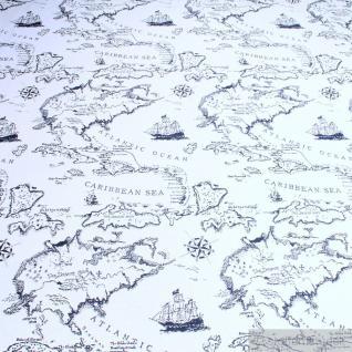 Stoff Baumwolle Polyester Gobelin Weltkarte antik Karibische See 280 cm breit