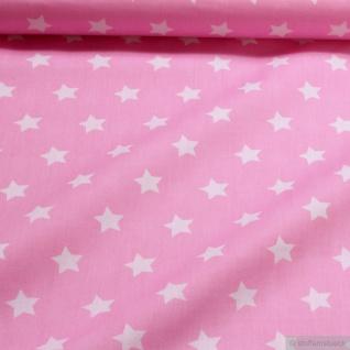 Stoff Kinderstoff Baumwolle Popeline Stern rosa weiß Sternchen Baumwollstoff