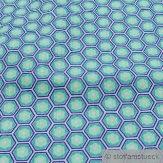 Stoff Baumwolle Wabe blau grün Kikko Japanisches Muster - Vorschau 3