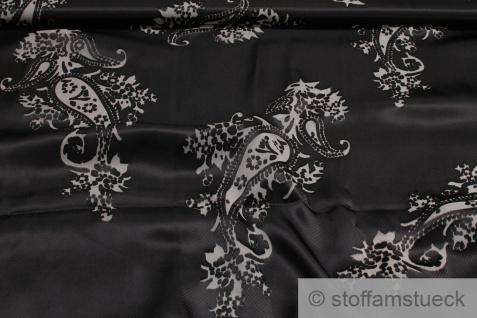 Stoff Polyester Satin schwarz Ausbrenner Paisley transparent - Vorschau 1