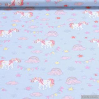 Stoff Baumwolle Elastan Single Jersey hellblau Einhorn Regenbogen Stern Wolke